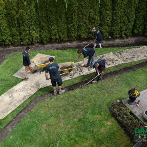 Surrey drainage contractor yard perimeter draining for Yard flooding problems